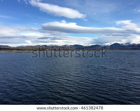 Coastal landscape in Helgeland, Norway. Between Sandnessjoen and Bronnoysund.