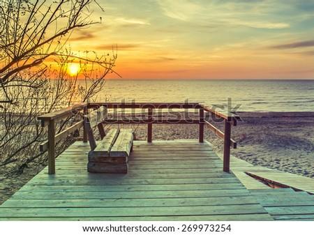 Coastal landscape in Saulkrasti - famous resort in Baltic region, Latvia, Europe.  Image toned in vintage warm colors   - stock photo