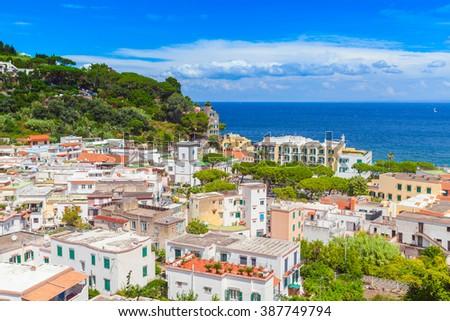 Coastal landscape of Lacco Ameno resort town. Ischia, Italy. Mediterranean Sea coast - stock photo