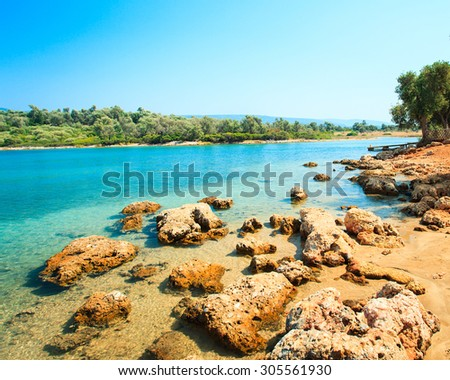 coastal landscape on Cleopatra's island. outdoor shot - stock photo