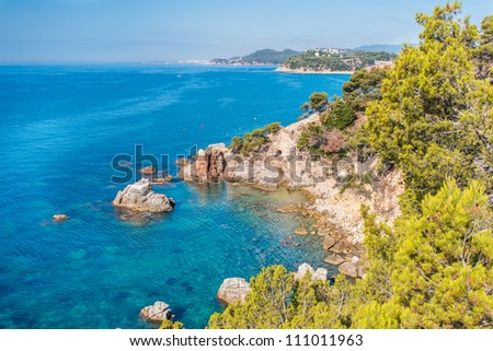 Coastal landscape on the Costa Brava Coast near Lloret de Mar, Catalonia, Spain