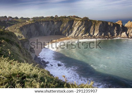 coastal landscape with blue sea and beautiful cliffs