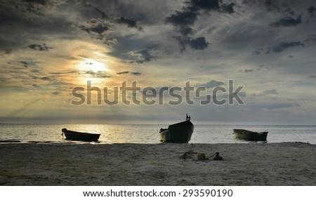 Coastal landscape with fishing boats, Baltic Sea - stock photo