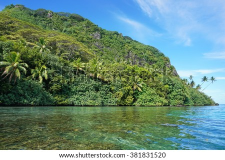 Coastal landscape with lush green vegetation on unspoiled shore, Huahine island, Pacific ocean, French Polynesia - stock photo