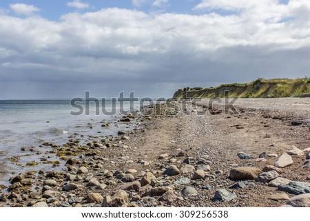 Coastal landscape with stone beach / Baltic Sea / Ocean - stock photo