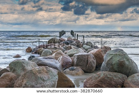 Coastal landscape with the first autumnal storm, Baltic Sea - stock photo
