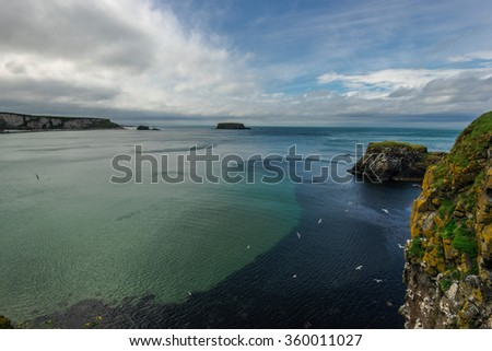 coastal landscape with the sea and a blue clouded sky