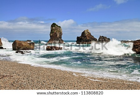 Coastal landscapes of the the West Coast at Monro Beach in the South Island; New Zealand. - stock photo