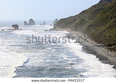 Coastal line from Pancake Rock Canyon Punakaiki New Zealand - stock photo