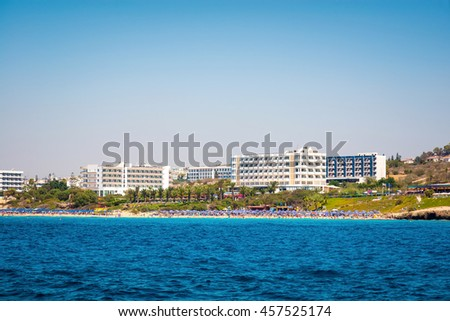 Coastal line of Ayia Napa with beach and hotels. Famagusta District. Cyprus. - stock photo