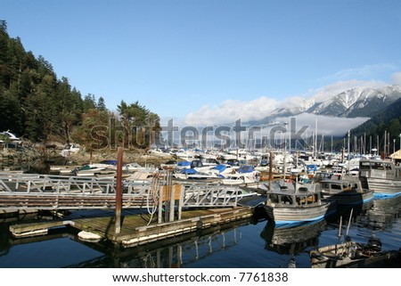 Coastal Marina With Scenic Mountains