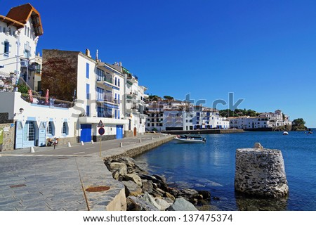 Coastal Mediterranean village of Cadaques in Spain, Costa Brava, Catalonia - stock photo