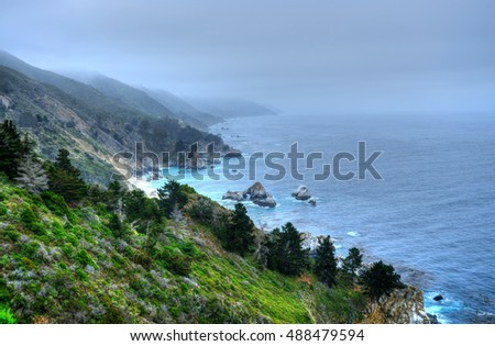Coastal morning fog along Big Sur California