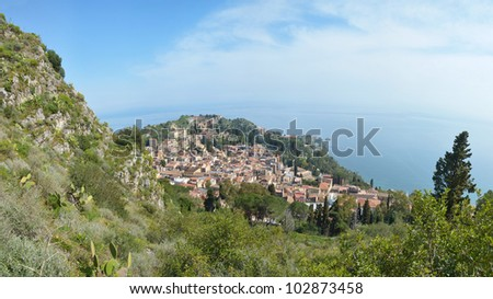 Coastal panoramic landscape, Sicily, Italy - stock photo