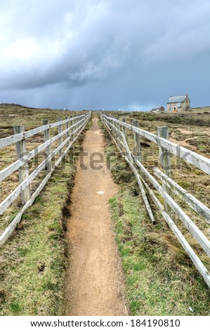 Coastal path from Holywell bay to perranporth - stock photo
