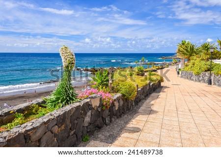 Coastal promenade along ocean in Puerto de la Cruz, Tenerife, Canary Islands, Spain - stock photo