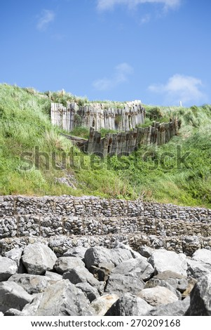 coastal protection for the ballybunion golf course in county kerry ireland - stock photo