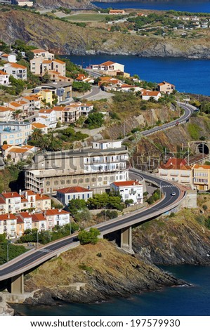 Coastal road in the village of Cerbere, Cote Vermeille, Pyrenees Orientales, Mediterranean sea, Roussillon, France - stock photo