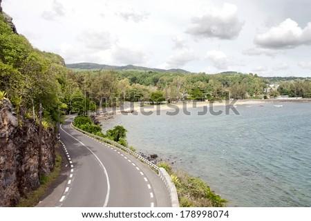 coastal road on Mauritius island - stock photo