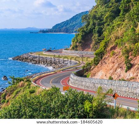 Coastal road thailand - stock photo