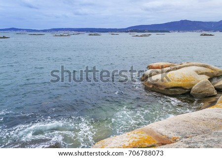 Coastal rocks and mussel aquaculture rafts in Arousa Estuary