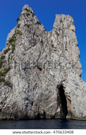 Coastal rocks of Capri island, Mediterranean Sea, Italy, Europe