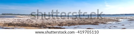 Coastal scenery with pebbles on the beach and blue sky - stock photo