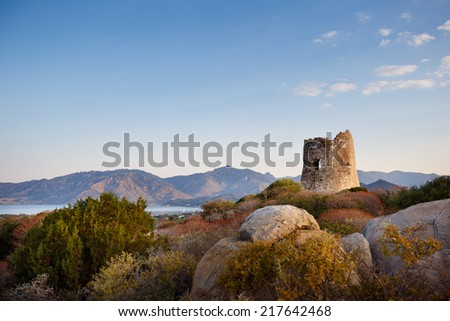 Coastal Tower in Porto Giunco, Villasimius, Sardinia, Italy - stock photo