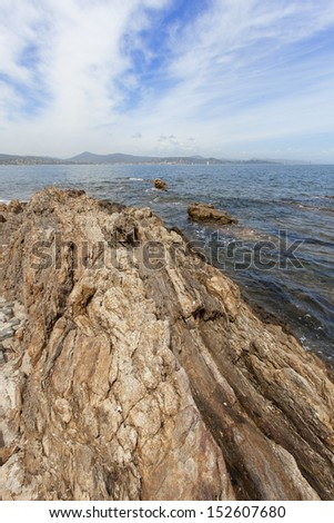 Coastal views of St Tropez in the south of France, Europe.