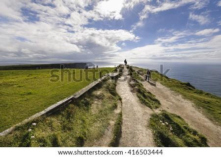 Coastal walk, Cliffs of Moher, County Clare, Ireland - stock photo