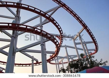 Coaster tracks - stock photo