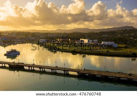 Coastline along city Saint John at Antigua island in Caribbean sea