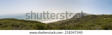 Coastline along Pacific Coast Highway (PCH. Highway 1) at Point Mugu State Park, California - stock photo