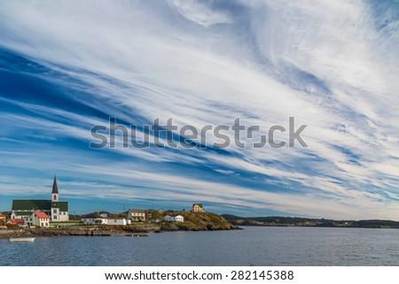 Coastline along the Bonavista Peninsula, Newfoundland at the small village of Trinity. - stock photo