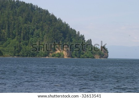 Coastline along the Strait of Juan de Fuca in Washington state, USA. - stock photo