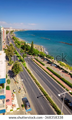 Coastline and beach aerial view, Limassol, Cyprus. - stock photo