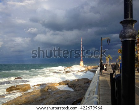 Coastline and Corniche of Beirut Lebanon. Beirut, Lebanon - January 01, 2016: Corniche street on coast of central Beirut, Lebanon