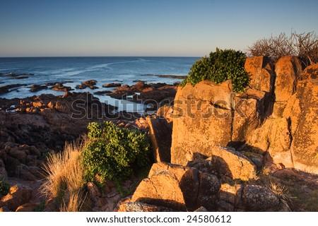 Coastline and ocean power, taken in Anna Bay, NSW, Australia - stock photo
