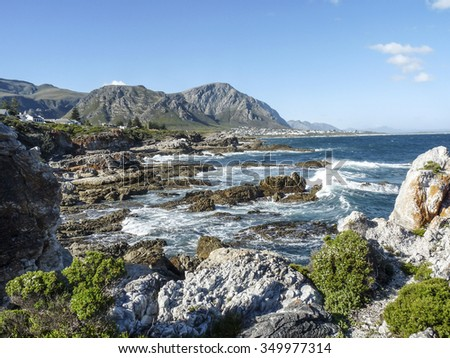 coastline at Fernkloof nature reserve in South Africe - stock photo