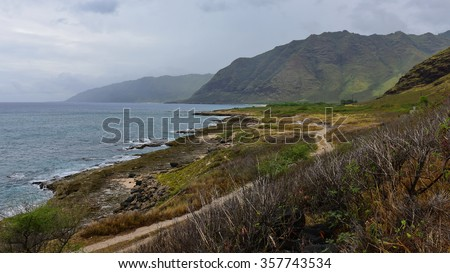 Coastline at Kaena Point State Park, west-most tip of Oahu, Hawaii - stock photo
