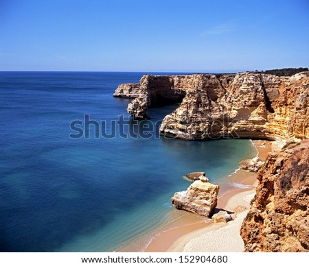 Coastline at Praia da Marinha, Algarve, Portugal, Western Europe. - stock photo