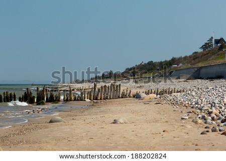 Coastline at the shores of Danish isle of Zealand. Picture taken near Raageleje. - stock photo