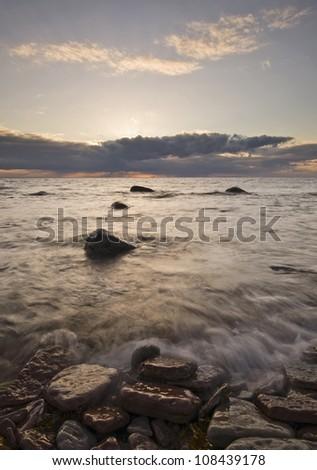 Coastline at the sunset, Oland island, Sweden - stock photo