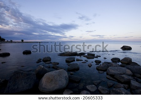 Coastline in Sweden at dawn. - stock photo