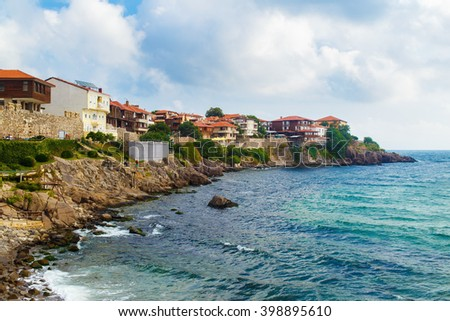 Coastline in the old town of Sozopol at Black Sea, Bulgaria. Old Town with fortress wall. Architectural and Historic Complex. - stock photo