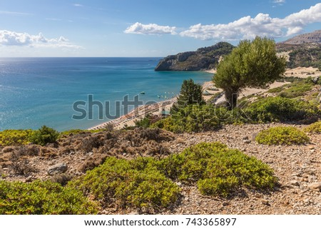 Coastline landscape from the Tsambika mountain on the Rhodes Island, Greece
