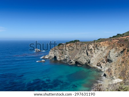 Coastline near Highway 1, California, USA - stock photo