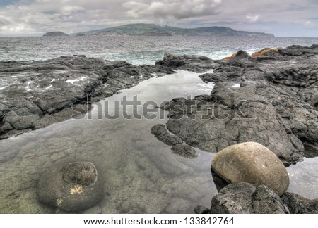 Coastline near Madalena  Pico Island, Azores  - HDR image - stock photo