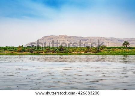 Coastline Nile river near Luxor. Egypt, Africa - stock photo