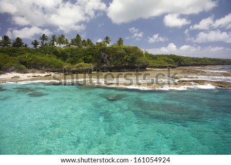 Coastline of Alofi, Niue, South Pacific. - stock photo